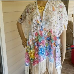 Other - NWOT swimsuit coverup with fringe and butterflys
